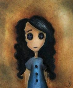 """Saatchi Online Artist Ashley Wilt; Painting, """"Janie as Coraline"""" #art prints for sale, and canvases too! #timburton #neilgaiman"""
