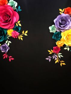 Items similar to Paper Flowers Photo Wall - Black Photo Wall- Bright Paper Flowers on Black Background on Etsy Cool Powerpoint Backgrounds, Powerpoint Background Design, Black Backgrounds, Background Designs, Mexican Birthday, Mexican Party, Mexican Invitations, Mexican Flowers, Large Paper Flowers