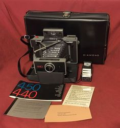 Vintage Polaroid 440 Camera Instructions Flash Attachment 490 Black Diamond Case  | eBay