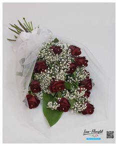 Hochzeit - Blumenstrauß mit roten Ecuador Rosen Explorer in Tüll mit Perlen und Schleife zum Antrag Ecuador, Ribbon Work, Hair Jewelry, Beads, Dekoration