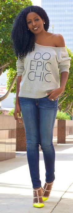 eLuxe Chic Raw Neck Print Sweatshirt