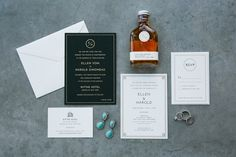 Love the main wedding invite in white (right side) with art deco accents.