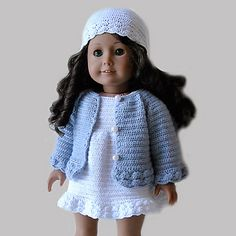 Ravelry: Crochet Pattern - American Girl Doll Clothes 23 - Cardigan, dress and hat pattern by Susanne Fågelberg