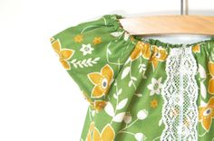 Girls Peasant Dress / Green and Mustard Floral / by weestitchery, $38.00