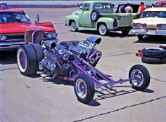 Purple dual side-by-side engine dragster