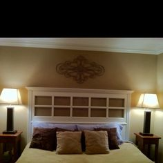 french door headboard | recycled French Door, add some crown moulding and trim, and wah-lah ...