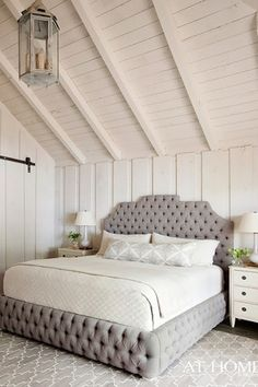 Contemporary Master Bedroom with Lucia French Country Cottage Rustic Iron Burlap 1 Light Pendant, Hardwood floors