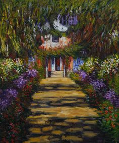 """""""Garden Path at Giverny"""" by Claude Monet"""