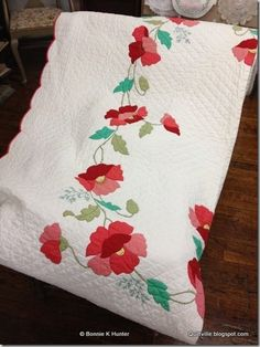 1930s Poppy Quilt.  Gorgeous embroidery! Just like the one my mom made in 1933.