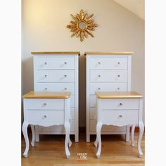 conjunto cómodas y mesitas de noche blanco y dorado muebles de colores espejo sol