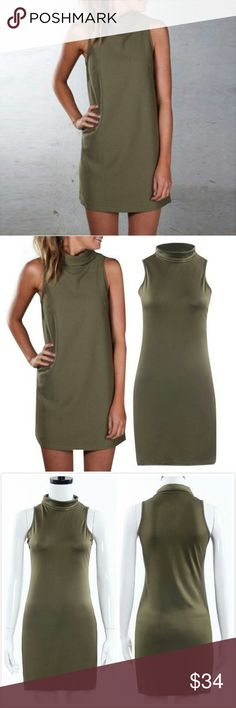New army green  mini dress This is so adorable! There are many colors available, if I find that this is a popular item I will order it in lavender, black, or cream. It is perfect for a night on the club or paired with a blazer for work, and is so versatile you could put almost anything over this with a pair of heels or boots and it would be just adorable. It is a nice soft cotton and polyester blend. Turtleneck csn be folded up or down! This can also fit a medium Emmpress Dresses Mini