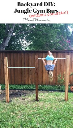 Backyard Jungle Gym Bars (without concrete!) Backyard Jungle Gym Bars (without concrete!),Kids paradise Backyard DIY: Jungle Gym Bars (without concrete! Backyard Jungle Gym, Backyard For Kids, Outdoor Jungle Gym, Backyard Zipline, Backyard Obstacle Course, Diy Garden Ideas For Kids, Cheap Backyard Ideas, Diy Garden Games, Backyard Playset