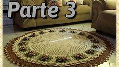 tapete de sala em crochê, parte 2 , parte que faltou,base,flor caracol,por Vanessa Marcondes. - YouTube