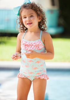 278daea11566b Pink Flamingo One Piece. Swimsuit MaterialGirls  SwimmingSwimsuitsBikinisSwimwearClassic ...