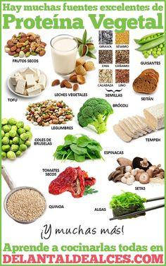 Descubre los alimentos vegetales con más proteínas. Legumbres, semillas, frutos secos... Todos ellos en una tabla con los valores de proteína por cada 100 g