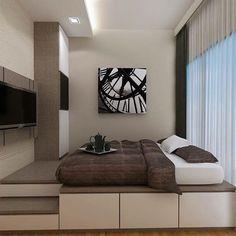 New Bedroom Loft Bed Platform Ideas Small Room Bedroom, Bedroom Loft, Home Decor Bedroom, Home Room Design, Home Interior Design, House Design, Hotel Inspired Bedroom, Platform Bedroom, Bed On Platform