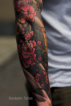 Fragment of Japanese Full Sleeve Tattoo. Plum Blossoms by George Bardadim - Fragment of Japanese Full Sleeve Tattoo. Plum Blossoms by George Bardadim - Full Sleeves Design, Full Sleeve Tattoo Design, Full Sleeve Tattoos, Japanese Tattoo Designs, Japanese Sleeve Tattoos, Tattoo Japanese Style, Irezumi Tattoos, Voll Arm-tattoos, Traditional Japanese Tattoos