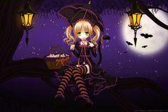 cute halloween anime girl