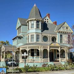 """""""Here's another beautiful home for Front Porch Friday. So much going on here I think I'm going to…"""" Victorian Architecture, Amazing Architecture, Architecture Details, Old Victorian Homes, Victorian Dollhouse, Victorian Houses, Vintage Homes, Beautiful Buildings, Beautiful Homes"""