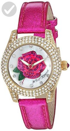 Betsey Johnson Women's Quartz Stainless Steel and Leather Casual Watch, Color:Pink (Model: BJ00193-10) - All about women (*Amazon Partner-Link)