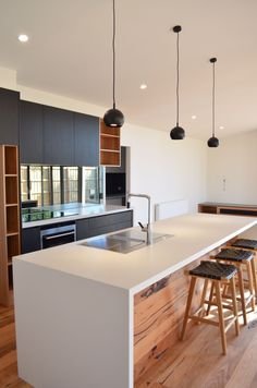 8 Experienced Clever Ideas: Minimalist Kitchen List Simple minimalist home plans window.Minimalist Home Bathroom Black White boho minimalist kitchen inspiration.Minimalist Home Bathroom Black White. Kitchen Island With Seating, Diy Kitchen Island, New Kitchen, Kitchen Interior, Kitchen Decor, Kitchen White, Kitchen Cabinets, Wood Cabinets, Kitchen Ideas