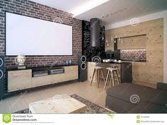 Living Room Interior, Home Interior Design, Modern Loft, Furniture Showroom, Wooden Kitchen, Architect Design, House Plans, House Design, Open Plan