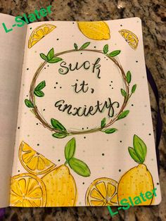 Telling anxiety who's boss! Drawing in my #bulletjournal is such a great stress reliever. #mentalhealth #bujo #stressrelief #lemons #inspiration #wreath