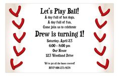 Baseball Fun Birthday Invitation