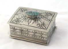 Small Loop Stamped Silver Box with Turquoise - Home Décor - National Cowboy Museum
