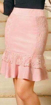 Bonita Falda a la rodilla rosa