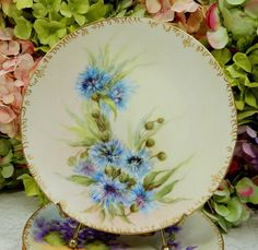 "For your consideration are these six beautiful porcelain plates. These are unmarked, but I believe them to be Limoges. Each has a wonderful hand painted floral pattern with gold trim. Each measures 7 3/4"" diam. 