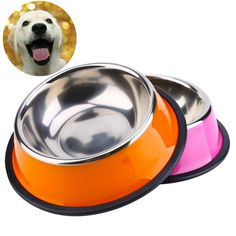 Dog Bowl Stainless Steel Anti-skid Pet Dog Cat Food Water Bowl Pet Feeding Bowls XS-L For Pet Food Water Feeder // Worldwide FREE Shipping //     #dogsupplies