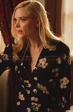 Lemon's black, blue and white floral dress on Hart of Dixie.  Outfit Details: http://wornontv.net/31454/ #HartofDixie