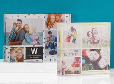 Deck the shelves with glass photo prints that share your special memories.