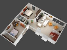 Mansion Floor Plans plan view render of unit 5 jpg One Bedroom House Plans, 3d House Plans, Small House Plans, Container Home Designs, Apartment Layout, Apartment Plans, Studio Apartment, The Plan, How To Plan