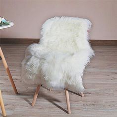 Faux Fur Sheepskin Rug Soft Fluffy Chair Cover Seat Pad Shaggy Christmas Home Decoration Area Rugs for Bedroom Sofa Floor, White / Feet