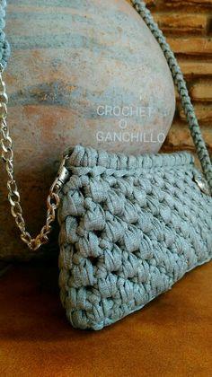 """Bolso de trapillo """"argent"""" con cadena by Crochet o ganchillo"""
