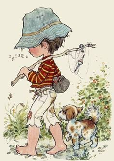 The Garden of Dreams: Tender Images of Sarah Kay Sarah Key, Holly Hobbie, Gone Fishing, Australian Artists, Illustrations, Cute Illustration, Vintage Postcards, Cute Art, Cute Pictures