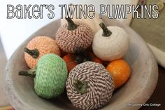 bakers twine pumpkins | the country chic cottage