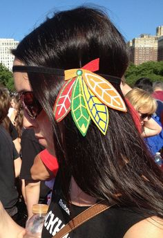Trendy Chicago Blackhawks headband, perfect for hockey fans of all ages! On Etsy for just $10