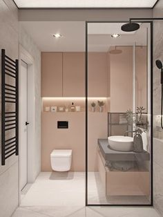 38 Modern Bathroom Decor and Design Ideas For More Attractive Home ~ Ideas for House Renovations Bathroom Design Small, Bathroom Interior Design, Modern Bathroom, Master Bathroom, Bathroom Pink, Bathroom Designs, Bathroom Wall, Floating Bathroom Sink, Floating Toilet