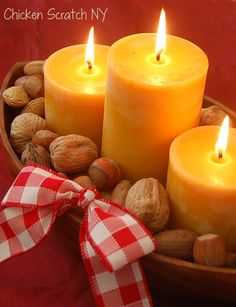 Candle & Nut Thrifty Centerpiece