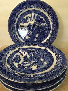 Vintage Fenton Transferware Plates  Flow Blue by PineStreetPickers