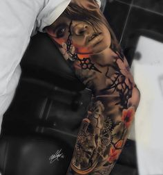 Surreal sleeve tattoo by Gary Mossman