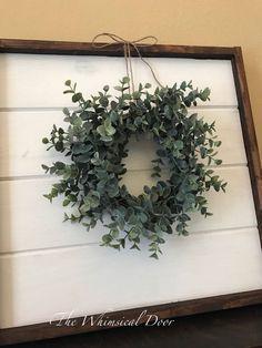 Farmhouse wreath - eucalyptus wreath - boxwood wreath - lavender wreath - mini wreath - window wreath - wreaths for front door Country Farmhouse Decor, Farmhouse Style Kitchen, Rustic Decor, Modern Farmhouse, Country Chic, Farmhouse Windows, Country Kitchen, French Country, Boxwood Wreath
