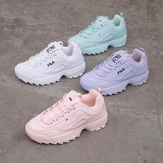 shoes sneakers fila New colors of Disruptor which one is your favorite White Fila Sneakers Outfit colors Disruptor Favorite Fila footish Sneakers Mode, Cute Sneakers, Sneakers Fashion, Fashion Shoes, Shoes Sneakers, Fashion Dresses, Fashion Fashion, Sneakers For Boys, Fashion Jewelry