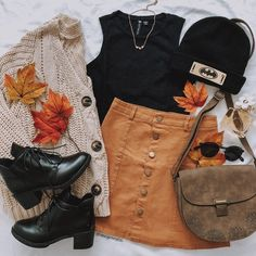 Love the corduroy skirt, sweater, and shoes - PC Stylish Outfits, Cute Outfits, Fashion Outfits, Style Fashion, Fall Winter Outfits, Autumn Winter Fashion, Vestidos Fashion, Inspiration Mode, School Fashion