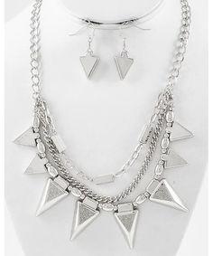 438305 Rhodiumized / Silver Acrylic & Glitter / Lead&nickel Compliant / Multi Row / Necklace & Fish Hook Earring Set