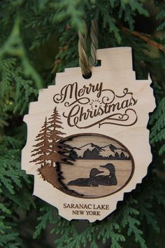 Adirondack Christmas Ornament, Custom Wood Ornaments, Personalized New York Ornaments