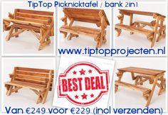 BEST DEAL! Van euro 249 voor euro 229 (inclusief verzenden binnen Nederland). De opvouwbare picknicktafel / bank 2in1 van www.tiptopprojecten.nl